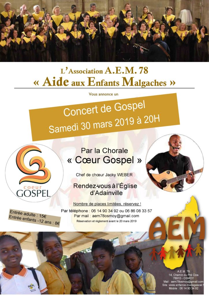 Concert de gospel à Osmoy (78910) le 30 mars 2019